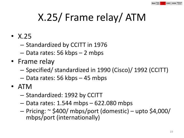 X.25/ Frame relay/ ATM
