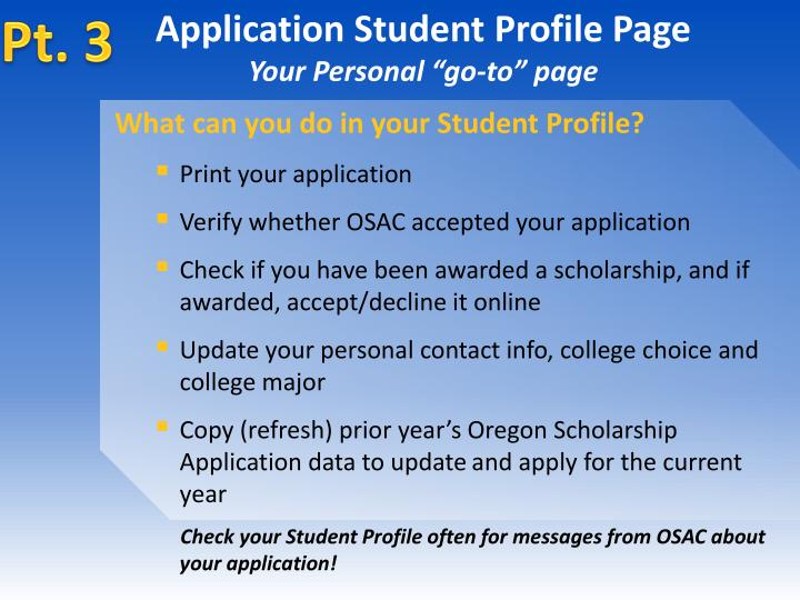 Application Student Profile Page