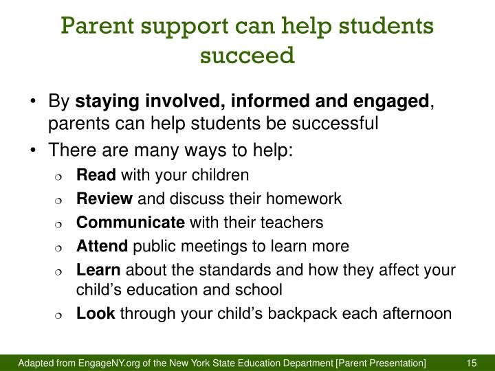 Parent support can help students succeed