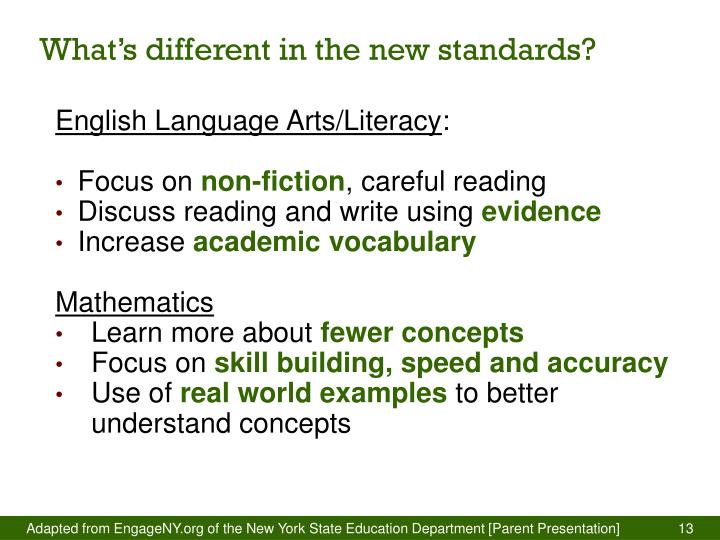 What's different in the new standards?