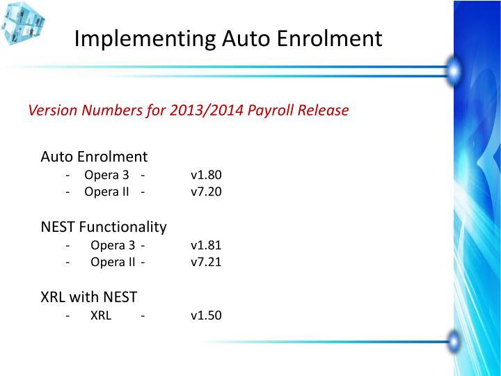 Implementing Auto Enrolment