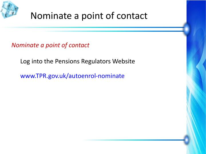Nominate a point of contact