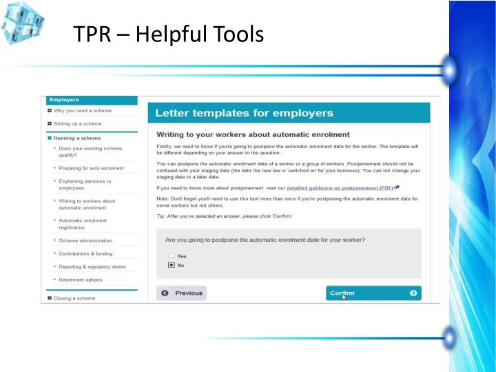TPR – Helpful Tools