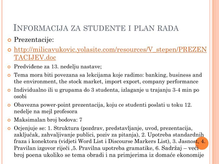 Informacija za studente i plan rada