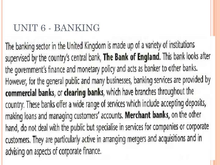 UNIT 6 - BANKING