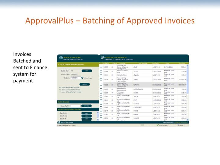 ApprovalPlus – Batching of Approved Invoices