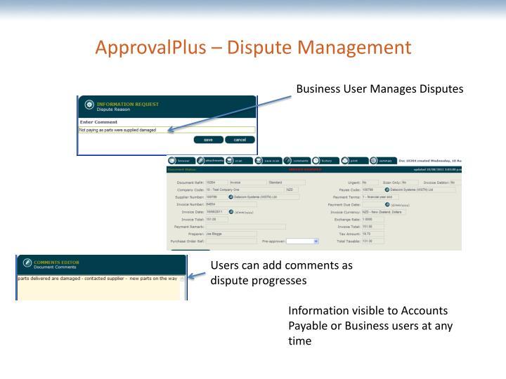 ApprovalPlus – Dispute Management