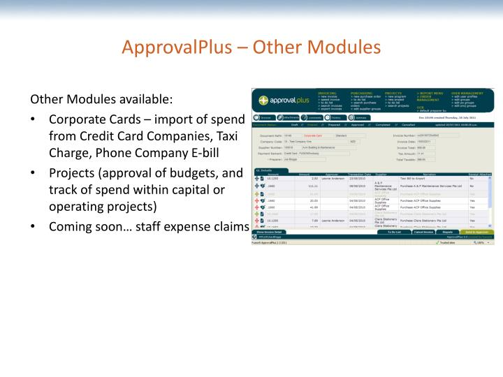 ApprovalPlus – Other Modules