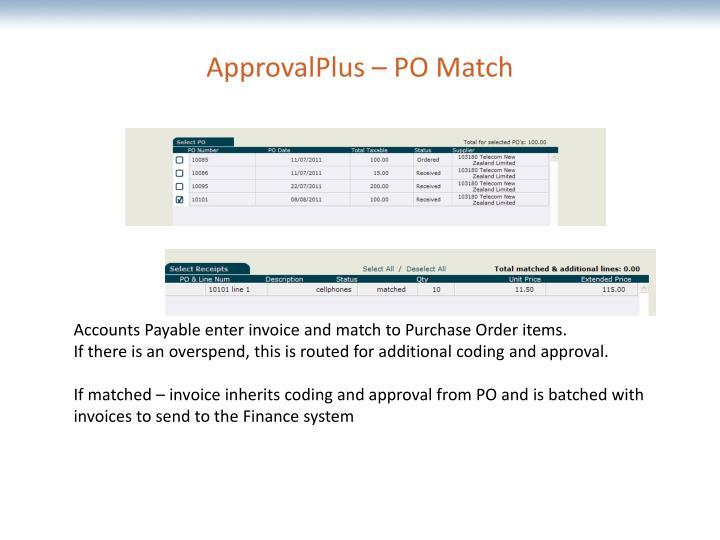 ApprovalPlus – PO Match