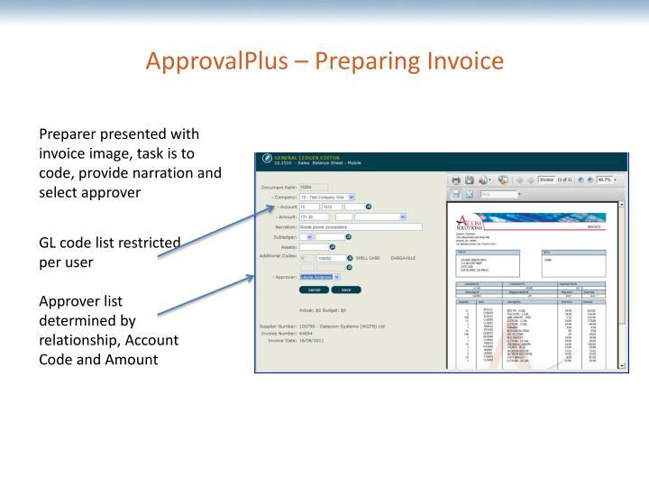 ApprovalPlus – Preparing Invoice