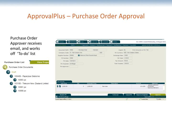 ApprovalPlus – Purchase Order Approval