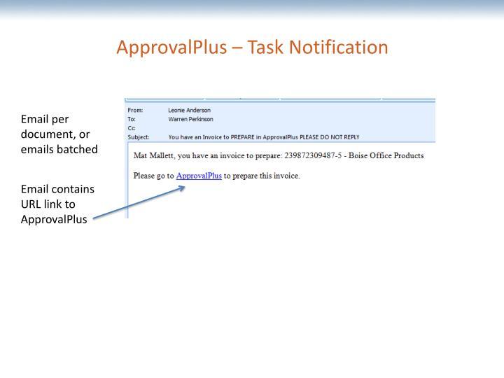 ApprovalPlus – Task Notification
