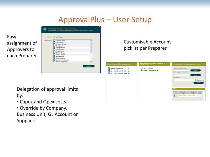 ApprovalPlus – User Setup