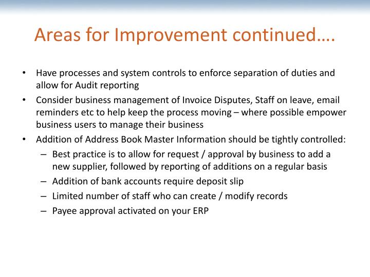 Areas for Improvement continued….
