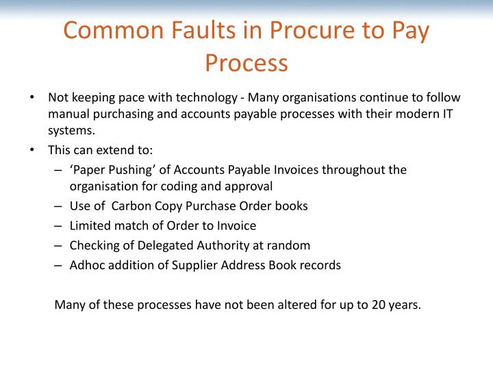 Common faults in procure to pay process