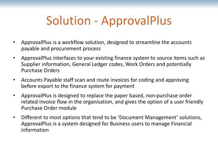 Solution - ApprovalPlus