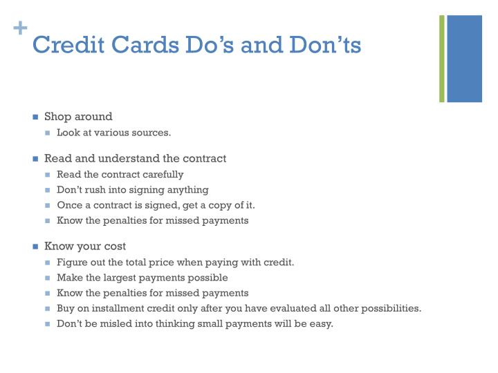 Credit Cards Do's and Don'ts