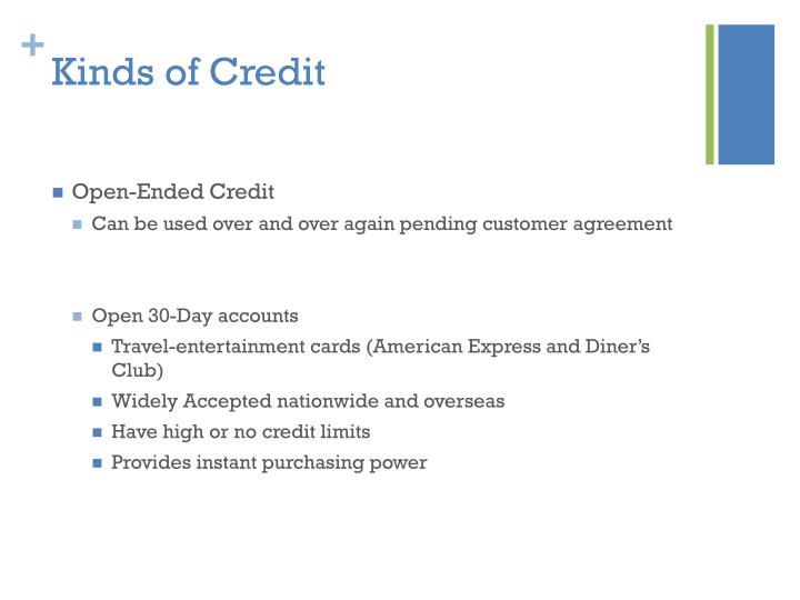 Kinds of Credit