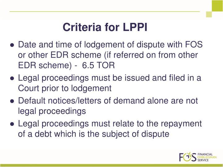 Criteria for LPPI