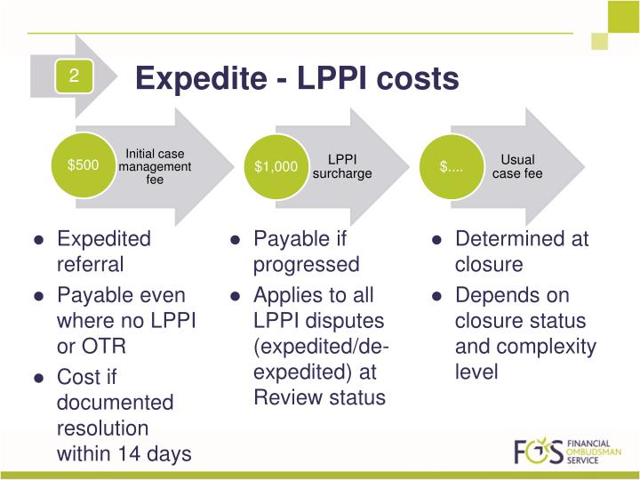 Expedite - LPPI costs