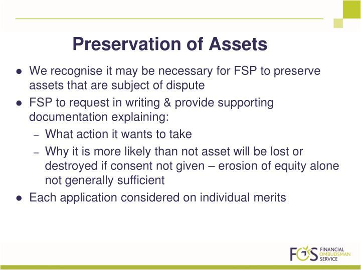 Preservation of Assets