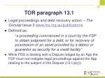 tor paragraph 13 1