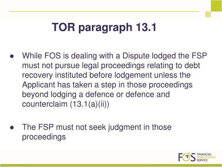 TOR paragraph 13.1