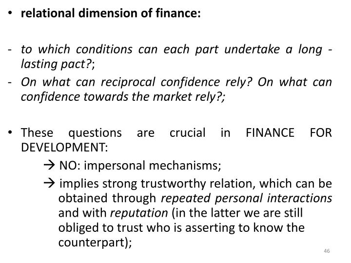 relational dimension of finance: