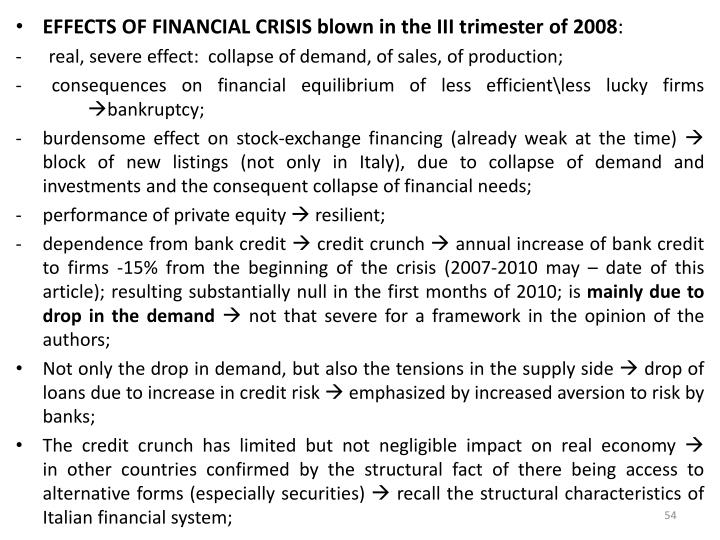 EFFECTS OF FINANCIAL CRISIS blown in the III trimester of 2008