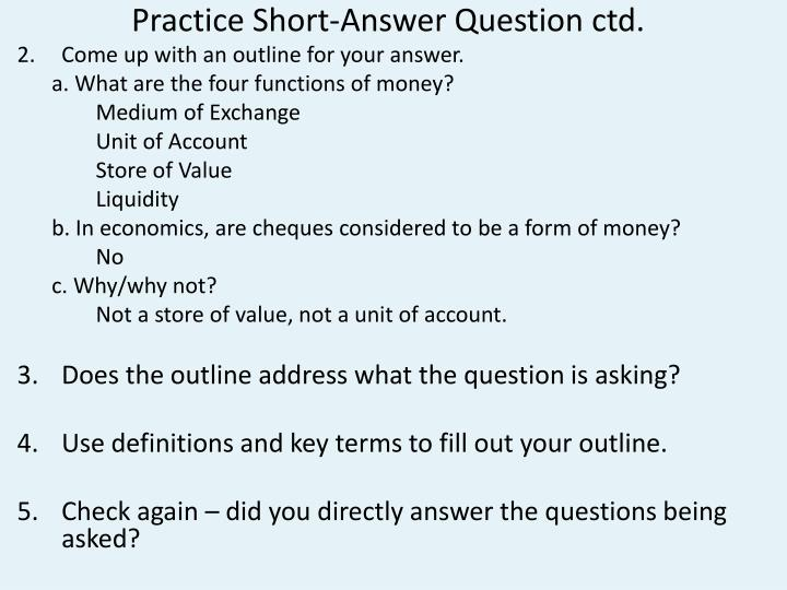 Practice Short-Answer Question