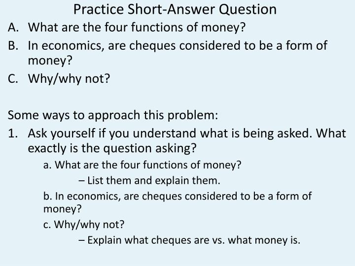 Practice short answer question
