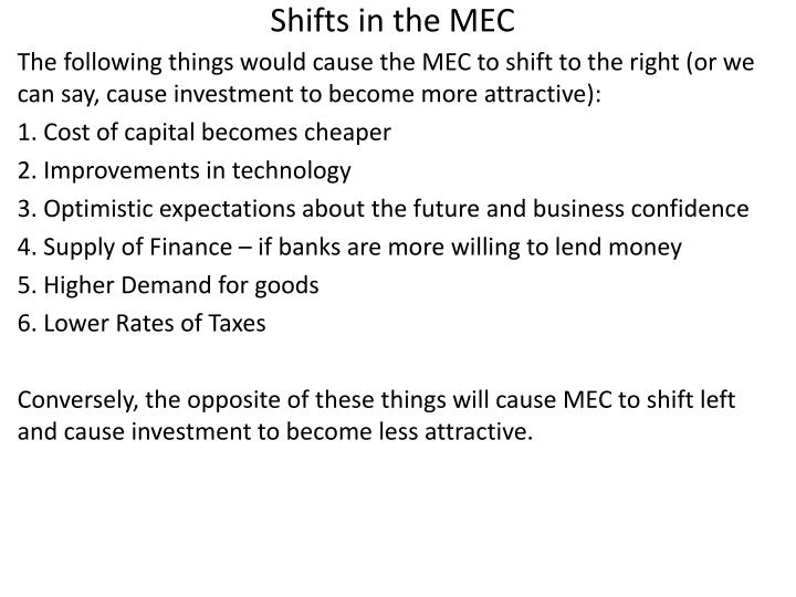 Shifts in the MEC