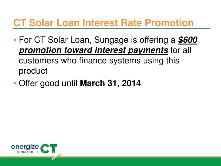 CT Solar Loan Interest Rate Promotion