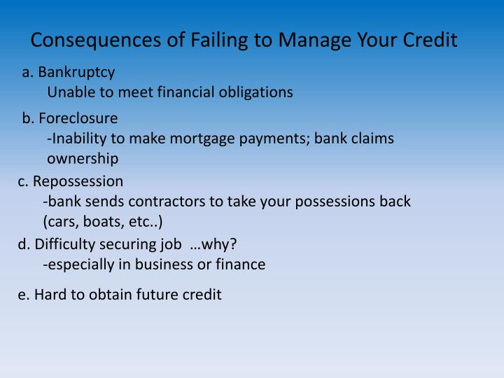Consequences of Failing to Manage Your Credit