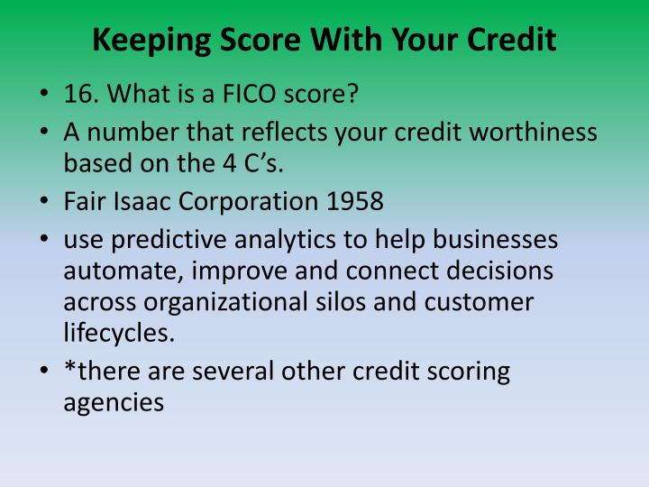 Keeping Score With Your Credit