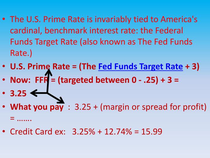 The U.S. Prime Rate is invariably tied to America's cardinal, benchmark interest rate: the Federal Funds Target Rate (also known as The Fed Funds Rate.)
