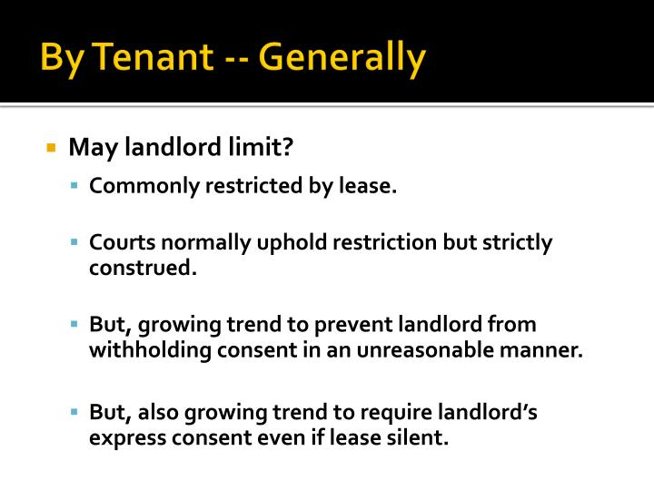 By Tenant -- Generally