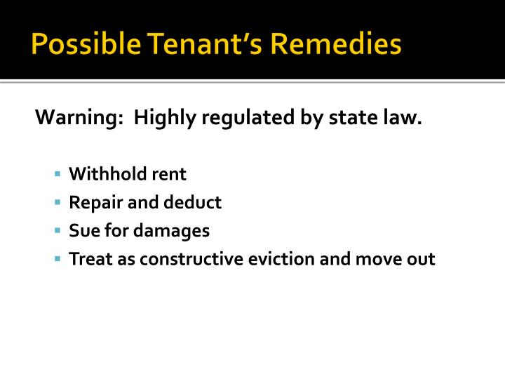 Possible Tenant's Remedies