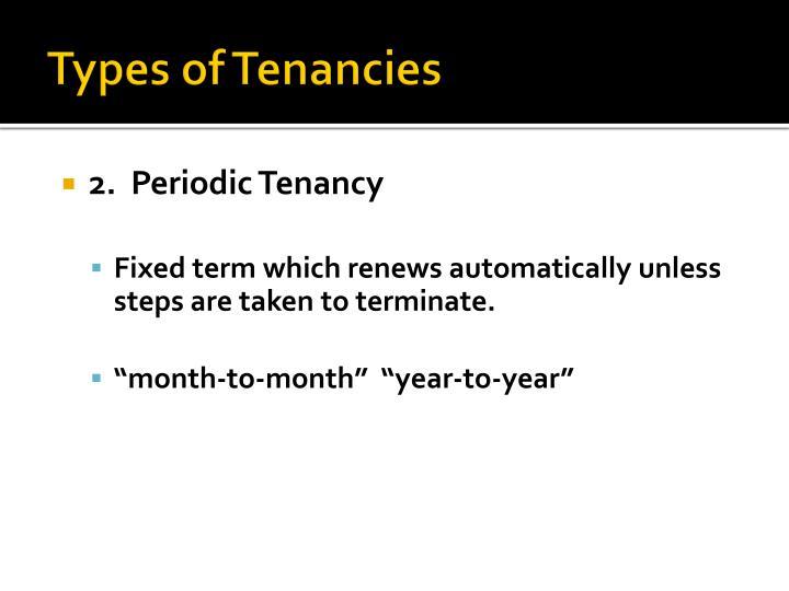 Types of Tenancies