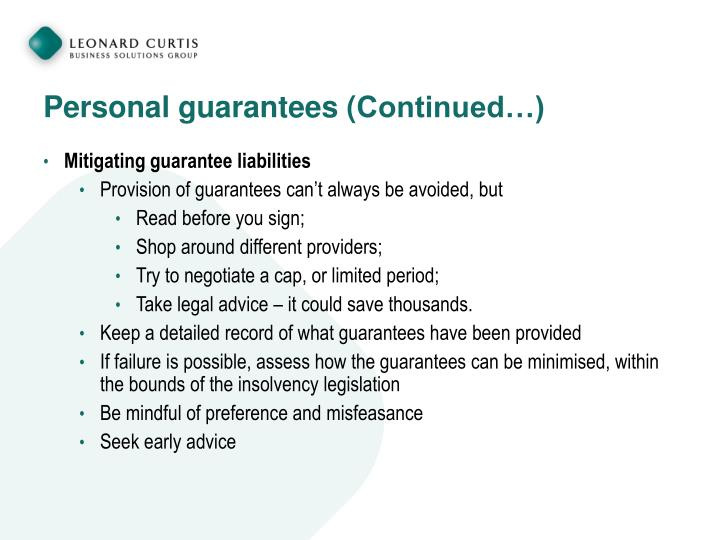 Personal guarantees (