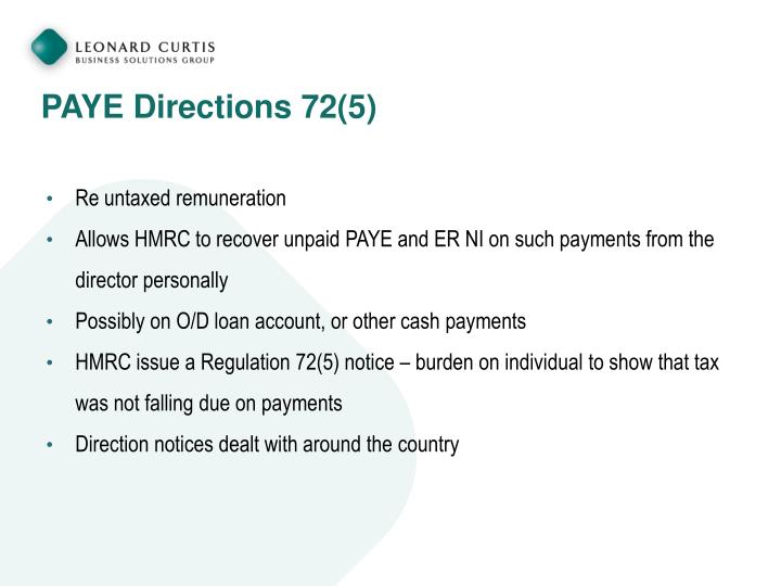 PAYE Directions 72(5)