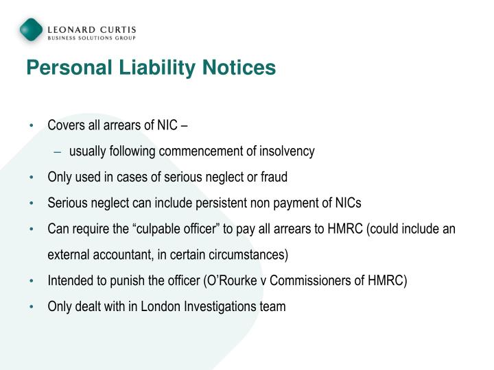 Personal Liability Notices