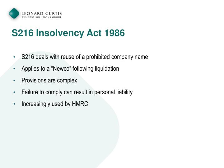 S216 Insolvency Act 1986