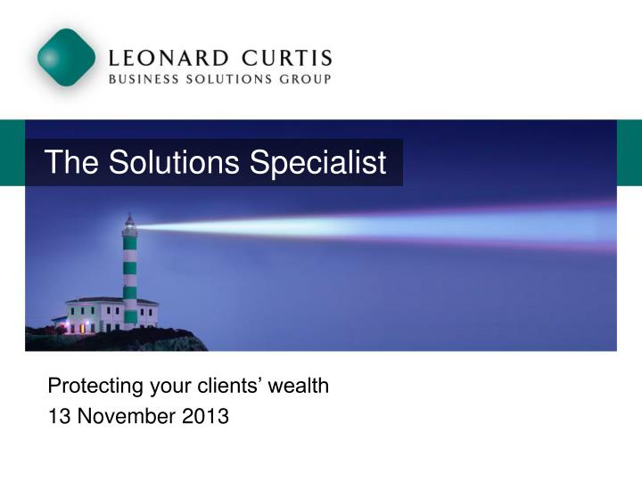 The solutions specialist