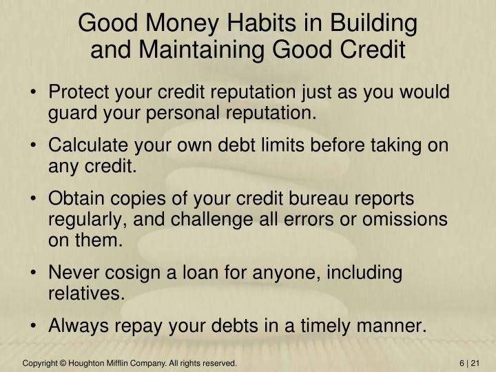 Good Money Habits in Building
