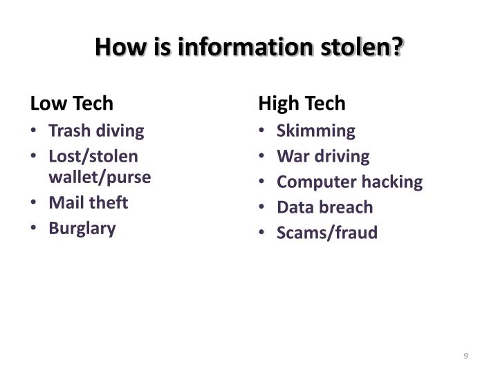 How is information stolen?