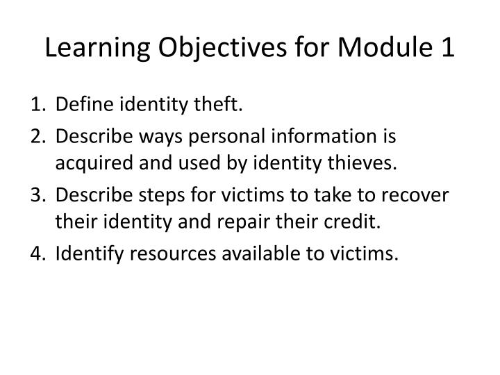 Learning Objectives for Module 1