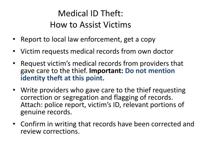Medical ID Theft: