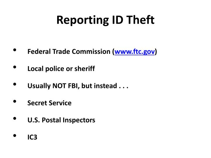 Reporting ID Theft