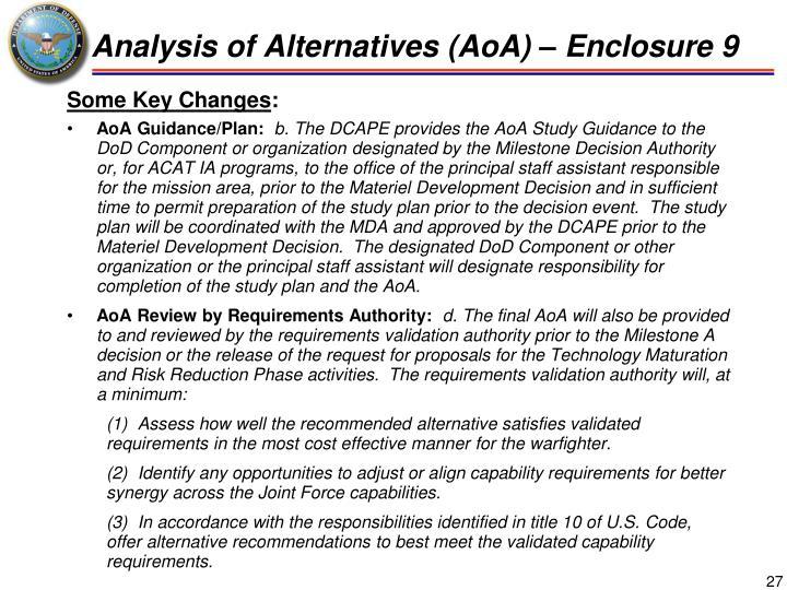 Analysis of Alternatives (